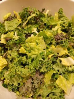 Used the kale, sorrel, spring onion, and mustard greens for a green machine salad, added some romaine and broccoli